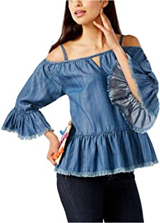 INC International Concepts Frayed Cold-Shoulder Top