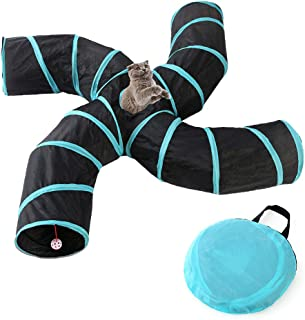 Haobase Cat Tunnel Toy, 4 Way Tunnels Extensible Collapsible Cat Play Tunnel Toy Maze Cat House with Pompon and Bells for ...
