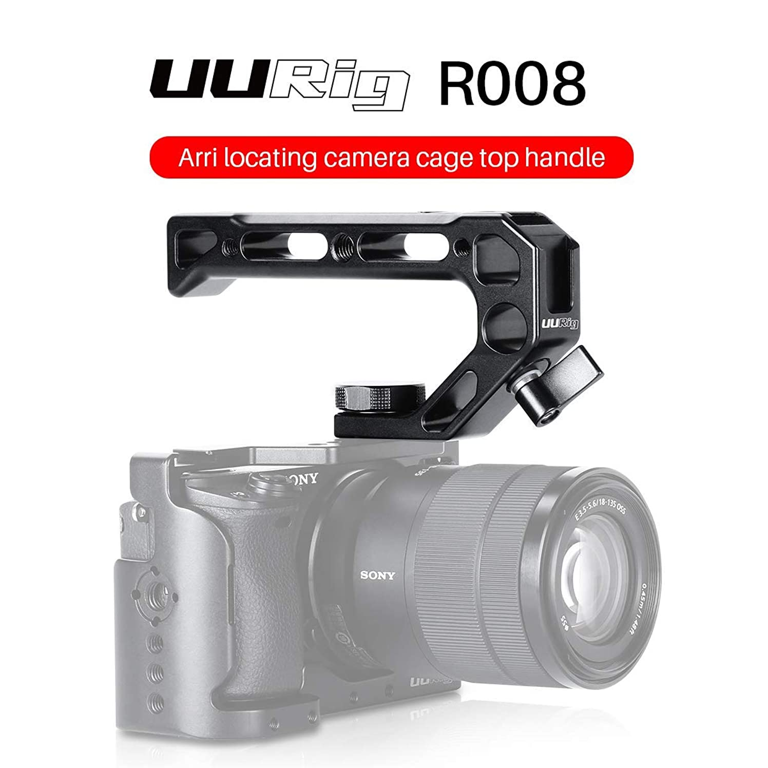 Camera Top Handle Grip with Cold Shoe Mount for Microphone Lights Monitor +15mm Rod Clamp+ 3/8 Screw Lock for Camera Rig Cage