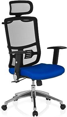 hjh OFFICE 653710 CAYEN Silla de oficina y giratoria, tejido negro/azul