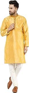 SKAVIJ Men's Kurta Pajama Set Art Silk Wedding Party Dress
