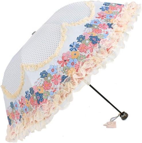 YZMBYUSAN Parapluie Femmes Rain Parapluie Soleil Double Dentelle Fleur Parasol étanche 3 Pliant Résistance Au Vent Femelle Parapluies
