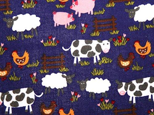 1FAT cuarto | color azul marino granja tela de polialgodón * * INCLUYE REINO UNIDO POST * * granja impreso animales de granja vacas oveja pollo tela de polialgodón con luz verde pálido, Multicolor