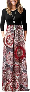 Women's Casual 3/4 Sleeve Floral Print Dresses Ethnic Style Party Long Maxi Dresses with Pockets