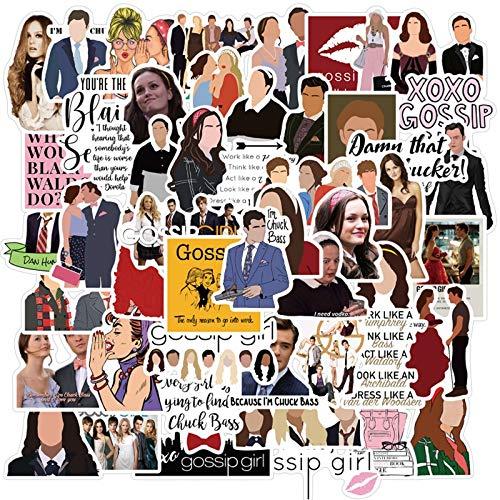 PMSMT 50 Uds Programa de TV Gossip Girl, Pegatina de papelería para Coche, portátil, Mochila de PVC, calcomanía para el hogar, Almohadilla para Bicicleta, Impermeable, Juguetes clásicos DIY