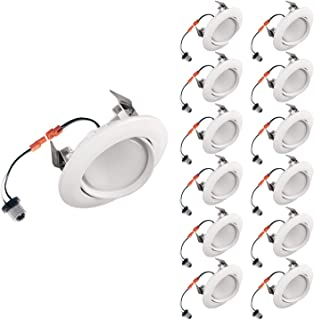 OSTWIN (12 Pack) 4 Inch Directional Recessed LED Can Gimbal Light Fixture, Adjustable Angle Downlight Directional, Dimmable, 10 W (75 Watt Replacement), 850 Lm, 3000K Warm Light, ETL & Energy Star