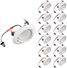 OSTWIN (12 Pack) 4 Inch Adjustable LED Gimbal Downlight, Retrofit Gimbal Ceiling Lighting Fixture Dimmable Recessed Mount, 10 W (75 Watt Replacement), 900 Lm, 4000K Bright Light, ETL & Energy Star