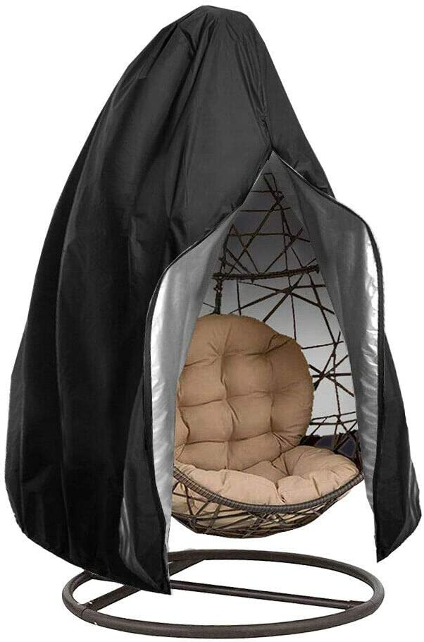 SUNJULY Hanging Egg Chair Cover Patio Swing Chair Dust Cover Protector With Zipper Heavy Duty Waterproof Patio Chair Cover UV Protect Dustproof For Swing Chair Grey Rattan Furniture