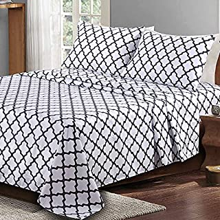 Lux Decor Collection Bed Sheet Set - Brushed Microfiber 1800 Bedding - Wrinkle, Stain and Fade Resistant - Hypoallergenic - 4 Piece (Full, Quatrefoil White)