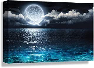 NWT Canvas Wall Art Blue Ocean Under Moonlight Calmful Heart Painting Artwork for Home Prints Framed - 32x48 inches
