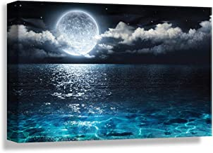 Blue Ocean Under Moonlight Calmful Heart, Design Pick by Winifred, Canvas Wrap - 24x36 inches