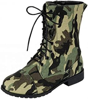 35d69bba049 Forever Link Womens Round Toe Military Lace up Knit Ankle Cuff Low Heel  Combat Boots