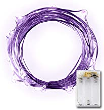 LIDORE Micro LED 20 Purple String Lights with Timer, Battery Operated on 7.87ft Long Silver Color Ultra Thin Copper Wire