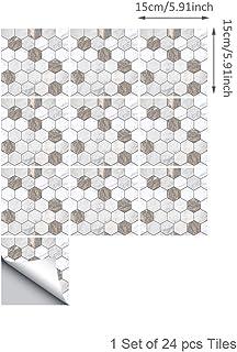Topmail 24 Piezas Azulejos Adhesivos Suelo 15x15cm Azulejos Vinilo Adhesivo Adhesivo Decorativo para Azulejos para baño y Cocina Stickers