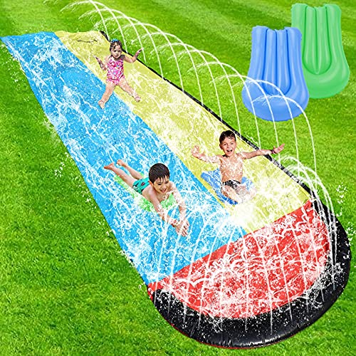 Lawn Water Slides for Kids Adults - Garden Backyard Giant Racing Lanes and Splash Pool, Outdoor 15.7FT Water Slides with Crash Pad Outdoor Water Toys