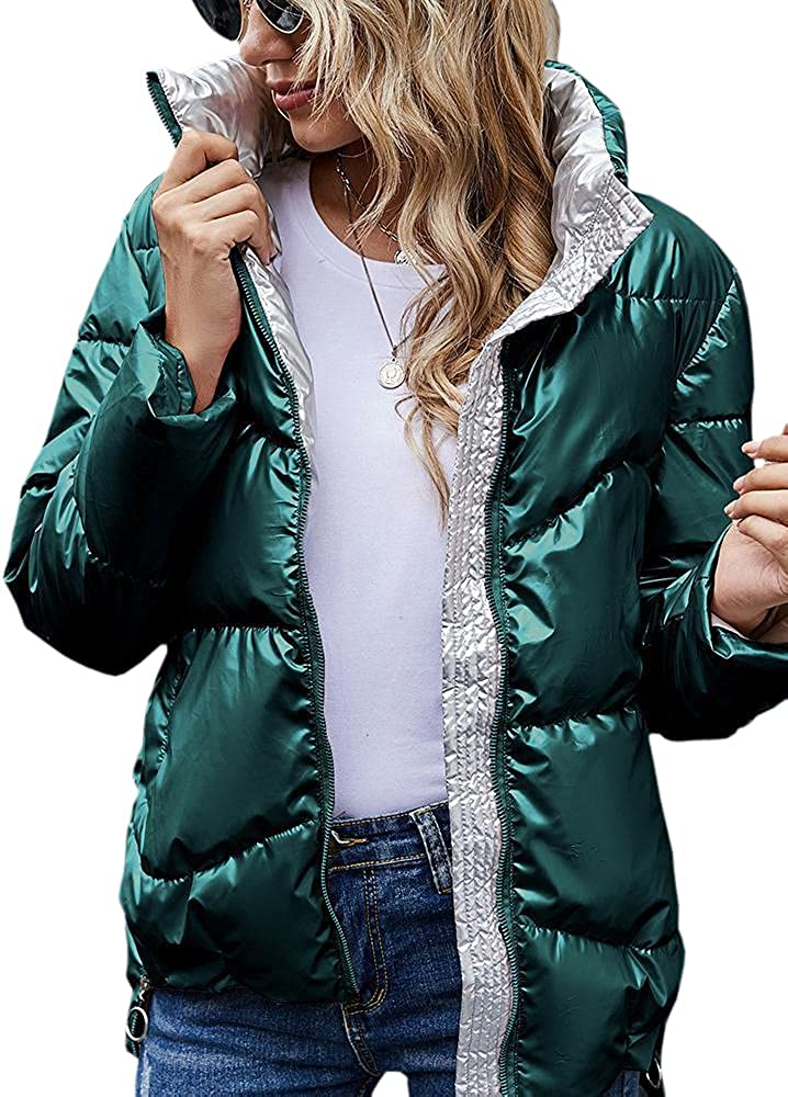 Danedvi Women Fashion Glossy Down Jacket Winter Matching Color Casual Zip up Coat Outerwear