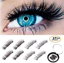 BONNIE CHOICE 8 Pcs Triple Magnetic Eyelashes, Magnetic Lashes, Magnetic False Eyelashes, 0.2mm Ultra Thin Magnet No Glue Reusable One Two Lashes Fake Magnet Lashes for Natural Look (2 Pairs)