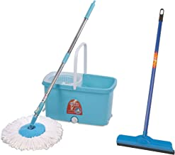 Gala Popular Spin mop with Easy Wheels and Bucket for Magic 360 Degree Cleaning & Gala Double Lip Wiper