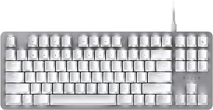 BlackWidow Lite TKL Tenkeyless Mechanical Keyboard : Orange Key Switches - Tactile & Silent - White Individual Key Lighting - Compact Design - Detachable Cable - Mercury White
