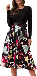 Women's Vintage Long Sleeve Waist Bow Evening Christmas Party Crewneck Elegant Hepburn Swing Dress