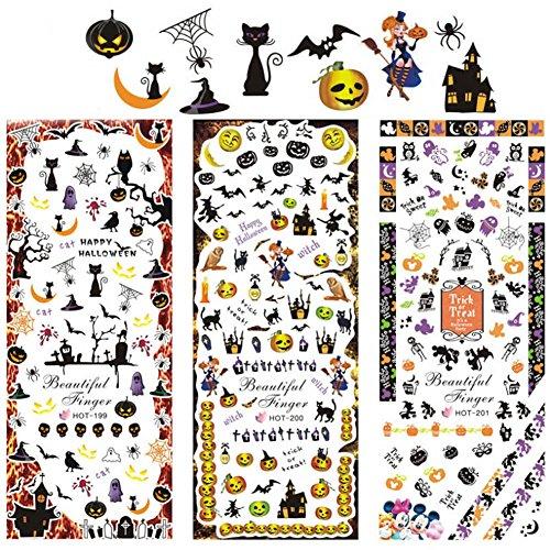 MEIYY Nagel Sticker Hot Koop 3 Vellen Halloween Water Transfer Stickers Nagel Art Tips Decoratie Spook vleermuis Schedel
