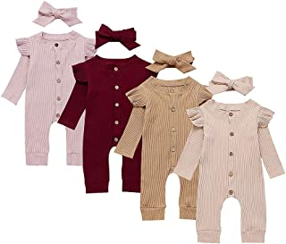 Infant Baby Girls One-Piece Romper Sleeveless Bodysuit Jumpsuit Pajamas Overalls with Headband