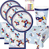 Airplane Flyer Birthday Party Supplies Pack Serves 16: Plates Napkins Cups and Table Cover with Birthday Candles (Bundle for 16)