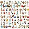 SANNIX チャーム アクセサリーパーツ 110個セット ペンダント ネックレス イヤリング飾り ジュエリー DIY 贈り物 オーナメント