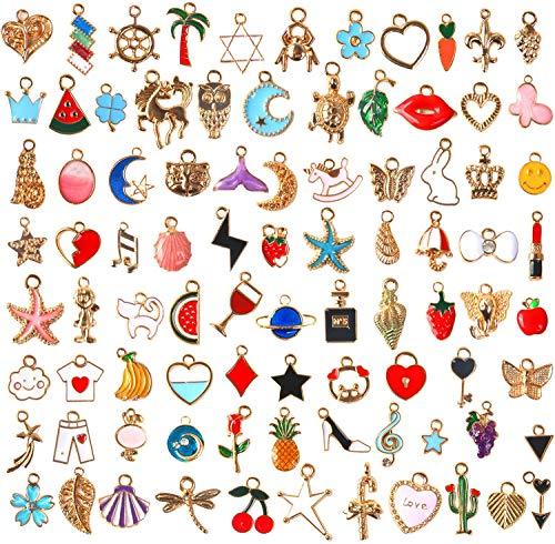 SANNIX チャーム アクセサリーパーツ 110個セット ペンダント ネックレス イヤリング飾り 可愛い ジュエリー DIY 贈り物 オーナメント