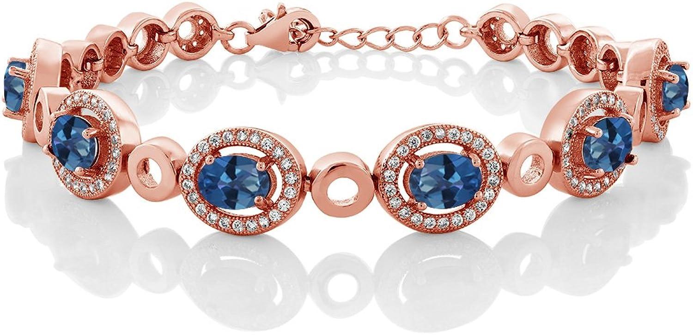 6.72 Ct Oval bluee Mystic Topaz 18K pink gold Plated Silver Bracelet