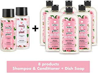Love Home and Planet + Love Beauty and Planet Rose & Murumuru Butter Home & Body Bundle – 8 Pack feat. Dish Soap, Shampoo & Conditioner