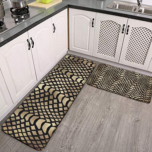 Juego de 2 alfombras de cocina, juego de 2 piezas, diseño de piel de animales de Pitón africano, color negro y dorado