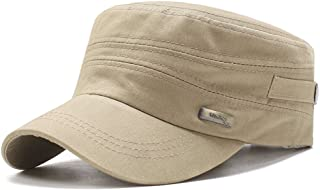 ChezAbbey Unisex Solid Brim Flat Top Cadet Caps Adjustable Snapback Corps Military Stylish Flat Top Hats