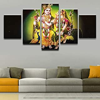 WSJXY 5 Canvas Paintings HD Print Poster 5 Pieces India Krishna and Radharan Pictures Canvas Painting Home Decorative Wall Art Living Room Framed
