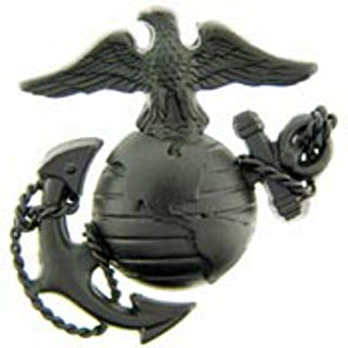 US Marine Corps Emblem E3 Left Cap Subdued Black USMC Lapel Hat Pin
