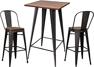 3 Pieces Bar Pub Table Metal Height Stool Set with Back Desk and Chairs, for Bistro,balcony,home, Retro Brown