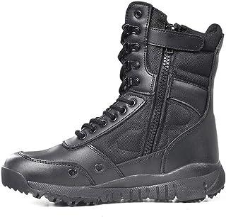 jin Bottes Tactiques pour Hommes Chaussures de Travail Militaire avec Fermeture à glissière sur Le côté Bottes de Combat d...