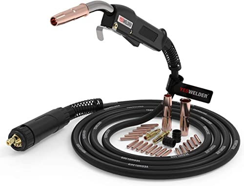 """discount YESWELDER online 15ft 250A MIG Welding Gun outlet online sale Euro connection Replacement for Longevity Esab Tweco #2&MIG Welding Gun Kit .035"""" Tip-Nozzle-Diffuser-Adapter outlet sale"""