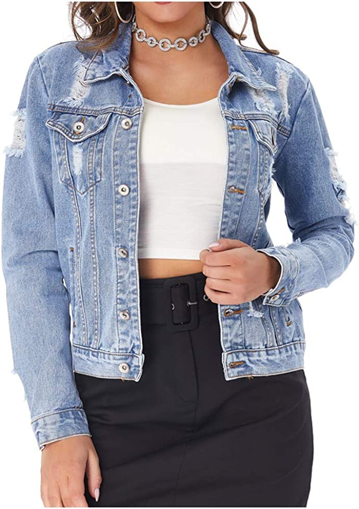 SCOFEEL Women's Distressed Denim Jean Ripped Button Down Long Sleeve Jacket with Pockets