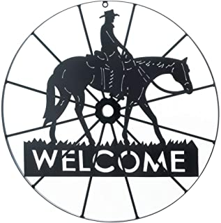 Metal Welcome Wagon Wheel with Horse & Cowboy from TheCraftyCrocodile