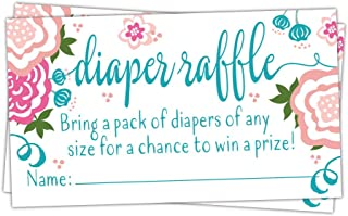 50 Sweet Blooms Floral Diaper Raffle Tickets - Baby Shower Game
