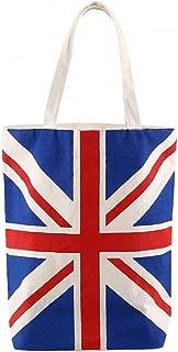Cotton Canvas Tote Bag--British Flag Creative Women's Handbag Portable Ecofriendly Geocery Shopping Top-Handle Bags