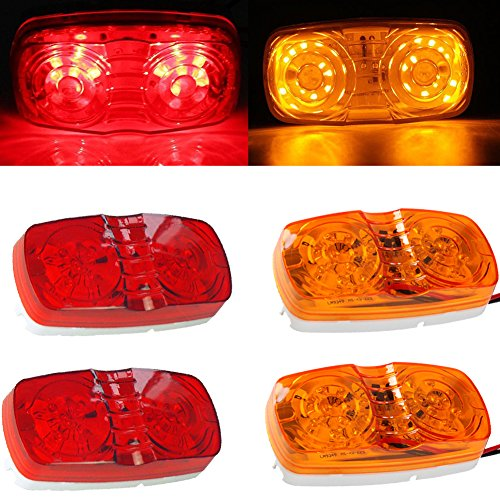NEW SUN 4x RV Camper Trailer Marker LED Lights 10 Diodes Double Bullseye Clearance Lights Red/Amber