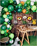 136 PCS Jungle Safari Theme Party Supplies, Balloon Garland Arch Kit, Favors for Kids Boys Birthday Baby Shower Decor, Green Balloons for Parties, Party Birthday Balloons Decorations