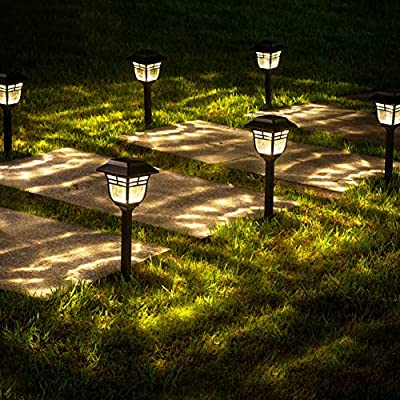 LeiDrail Solar Pathway Lights Outdoor Super Bright Glass Metal Path Light Warm White LED Classical Landscape Decorative Lighting Waterproof for Garden Yard Patio Lawn Walkway - 6 Pack
