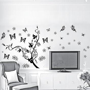 Wandtattoo Wandaufkleber Wandtatoo Wandsticker Schmetterling Baum Reben Amazon De Kuche Haushalt