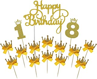 Gold Happy Birthday Cake Topper 18th Number Crown Cupcake Picks For Theme Party Dessert Table Decor Supplies by GOCROWN