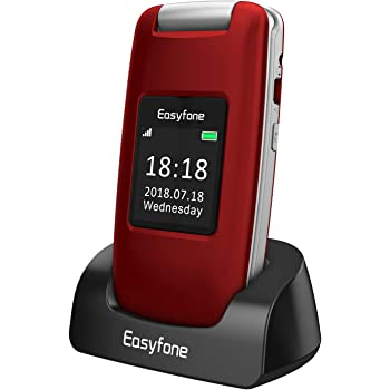 Easyfone Prime A1 3G Unlocked Senior Flip Cell Phone, Big Button Hearing Aids Compatible Easy-to-Use Basic Cell Phone with Charging Dock(Red)