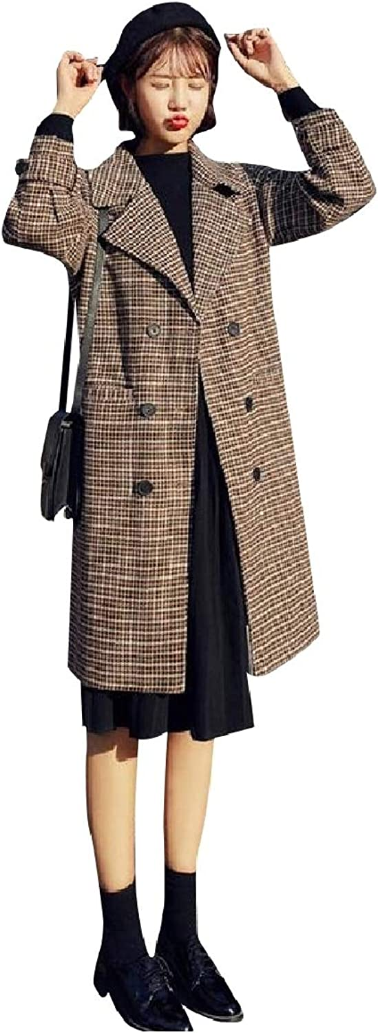 Winme Womens Plaid DoubleBreasted Parka Jackets Mid Long Duffle Coat