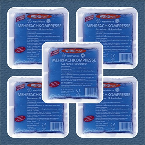 5 Stück Wundmed® Kalt/Warm Kompressen Mehrfachkompressen Kältekompressen Kühlkompresse Kühlkissen 13 x 14 cm, Profipack